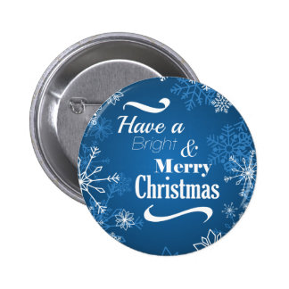 Merry Christmas Snowflakes greeting 2 Inch Round Button