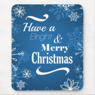 Merry Christmas Snowflakes greeting Mouse Pad
