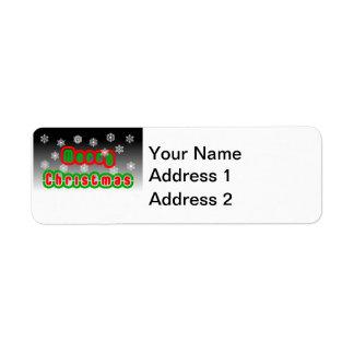 Merry Christmas Snowflakes Label