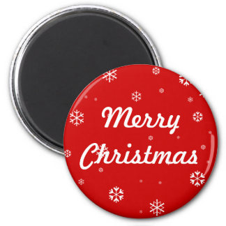 Merry Christmas Snowflakes 2 Inch Round Magnet