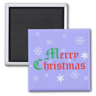 Merry Christmas - Snowflakes 2 Inch Square Magnet