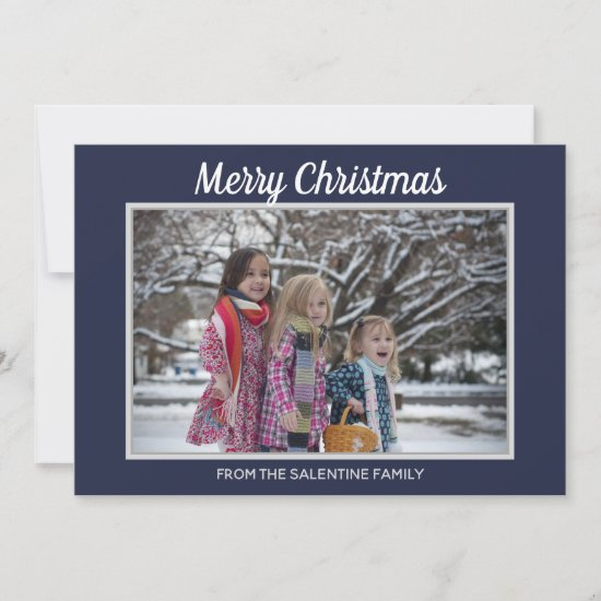 Merry Christmas Snowflakes Navy Blue Photo Frame Holiday Card