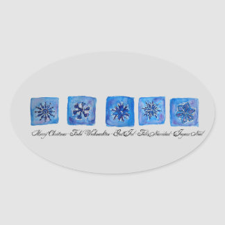 Merry Christmas Snowflakes Oval Sticker