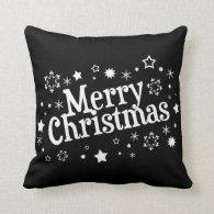 Merry Christmas Snowflakes Stars Black Pillow