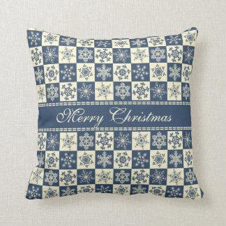 Merry Christmas Snowflakes Vintage Blue and Cream Throw Pillow