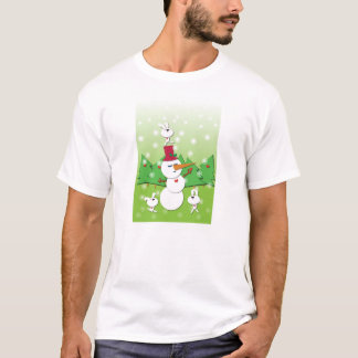 Merry Christmas Snowman and Bunny Friends T-Shirt