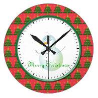 Merry Christmas Snowman and Christmas trees. Round Clocks
