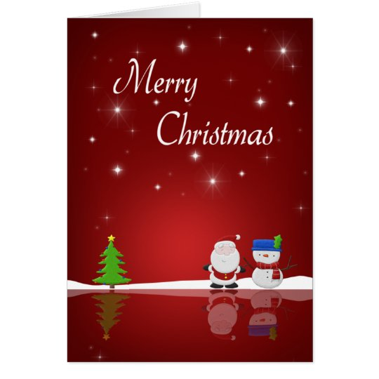 Merry Christmas Snowman and Santa - Greeting Card