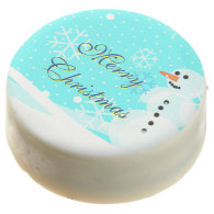 Merry Christmas Snowman and Snow flakes Chocolate Dipped Oreo