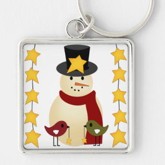 Merry Christmas Snowman and Stars Gifts Keychain