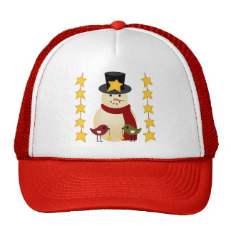 Merry Christmas Snowman and Stars Gifts Trucker Hat