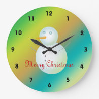 Merry Christmas Snowman Clocks