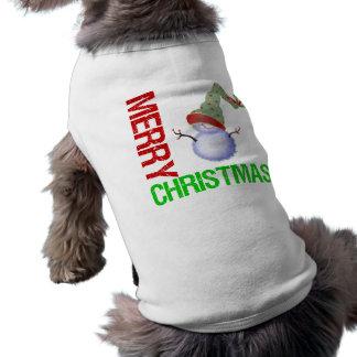 Merry Christmas Snowman Pet T-shirt