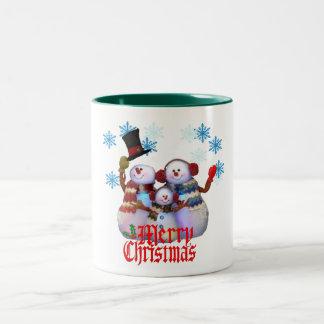merry christmas snowman family greeting mug design