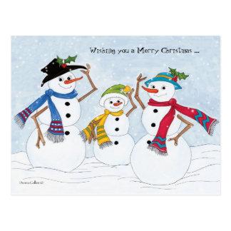 Merry Christmas snowman family Postcard