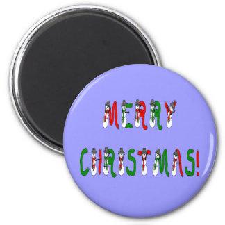 Merry Christmas Snowman Font Magnet