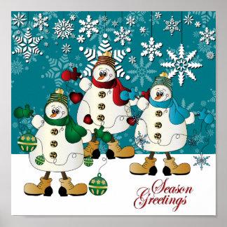 Merry Christmas Snowman Friends Poster