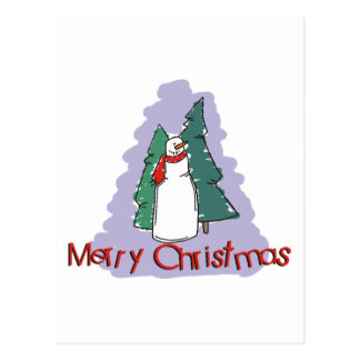 Merry Christmas Snowman Gift Postcard