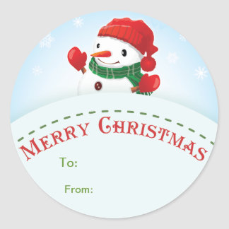 Merry Christmas Snowman Gift tag Sticker
