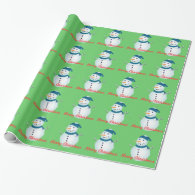 Merry Christmas snowman green winter holiday gift Wrapping Paper