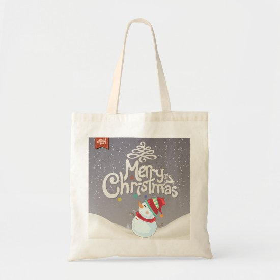 Merry Christmas Snowman in Winter Tote