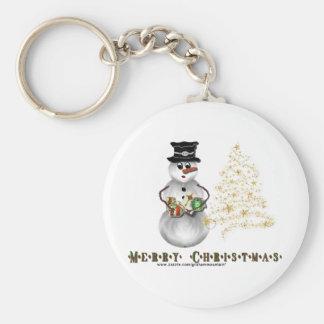 Merry Christmas Snowman Keychain