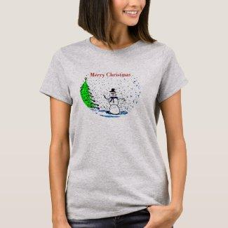 Merry Christmas Snowman Long Sleeve T-Shirt