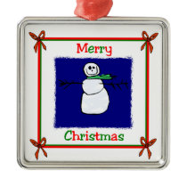 Merry Christmas Snowman Metal Ornament