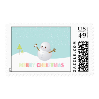 Merry Christmas Snowman Postage