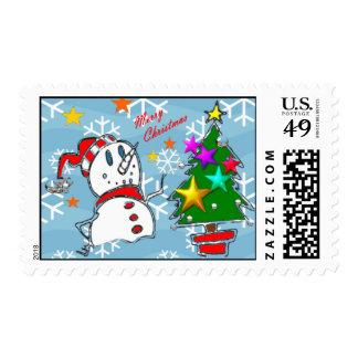 Merry Christmas Snowman Stamp