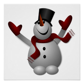 """MERRY CHRISTMAS"" SNOWMAN POSTER"
