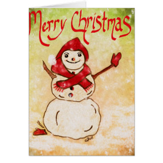 Merry Christmas, Snowman, Red Mittens, Xmas Card