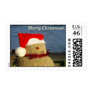 Merry Christmas snowman sandman stamp #1