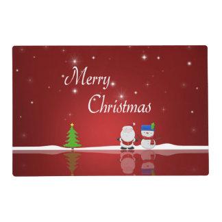 Merry Christmas Snowman Santa Laminated Placemat