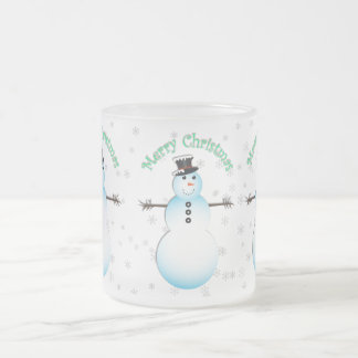 Merry Christmas Snowman transparent background Frosted Glass Coffee Mug