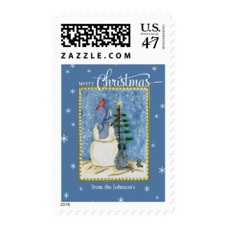 Merry Christmas Snowman & Tree custom name Postage