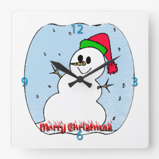 Merry Christmas Snowman Wall Clock