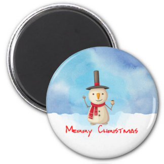 Merry Christmas Snowman Waving And Smiling 2 Inch Round Magnet