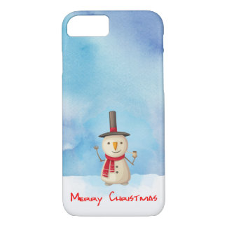 Merry Christmas Snowman Waving And Smiling iPhone 7 Case