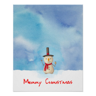 Merry Christmas Snowman Waving And Smiling Poster