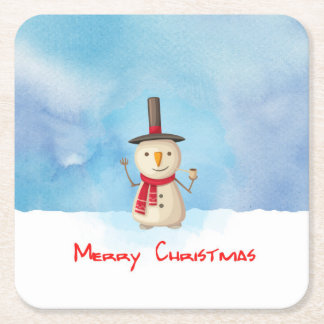 Merry Christmas Snowman Waving And Smiling Square Paper Coaster