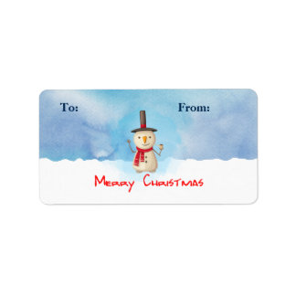 Merry Christmas Snowman Waving Gift Tag