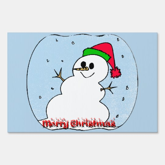 Merry Christmas Snowman Yard Sign