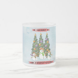 Merry Christmas Snowmen Christmas Tree Coffee Mug
