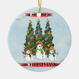 Merry Christmas Snowmen Christmas Tree Ornament