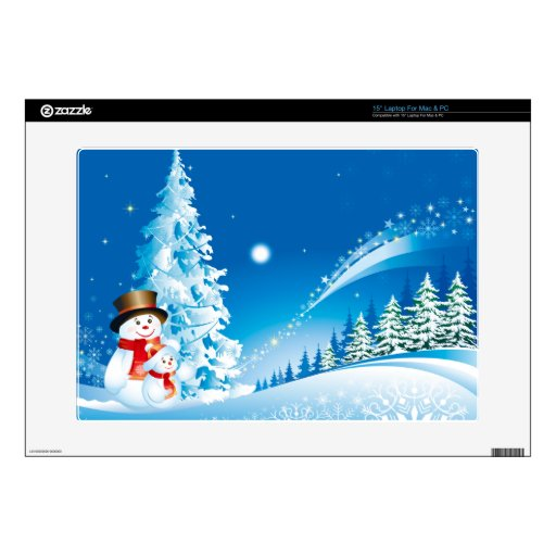 """Merry Christmas , Snowmen, Decals For 15"""" Laptops"""