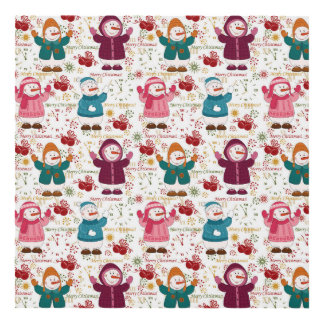 Merry Christmas Snowmen Panel Wall Art