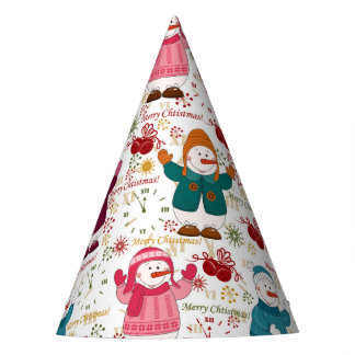 Merry Christmas Snowmen Party Hat