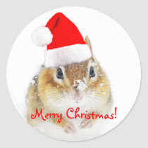 Merry Christmas Snowy Santa Chipmunk Classic Round Sticker
