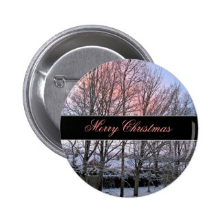 Merry Christmas - Snowy Trees Buttons